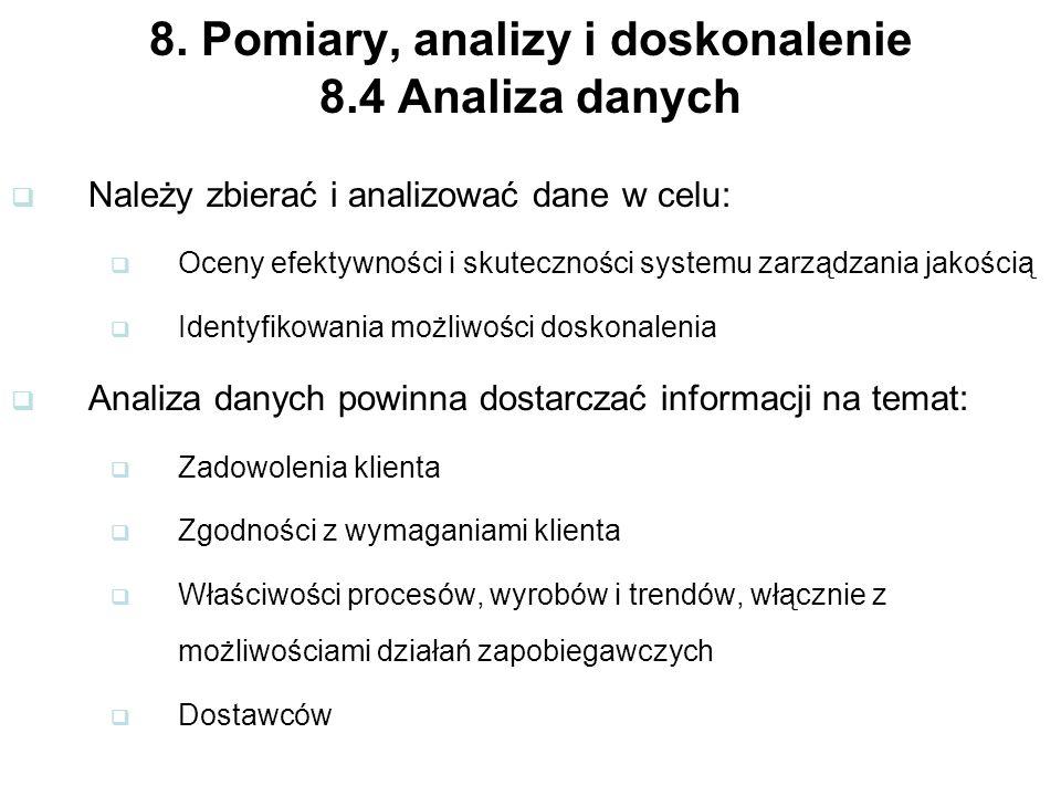 8. Pomiary, analizy i doskonalenie 8.4 Analiza danych Należy zbierać i analizować dane w celu: Oceny efektywności i skuteczności systemu zarządzania j