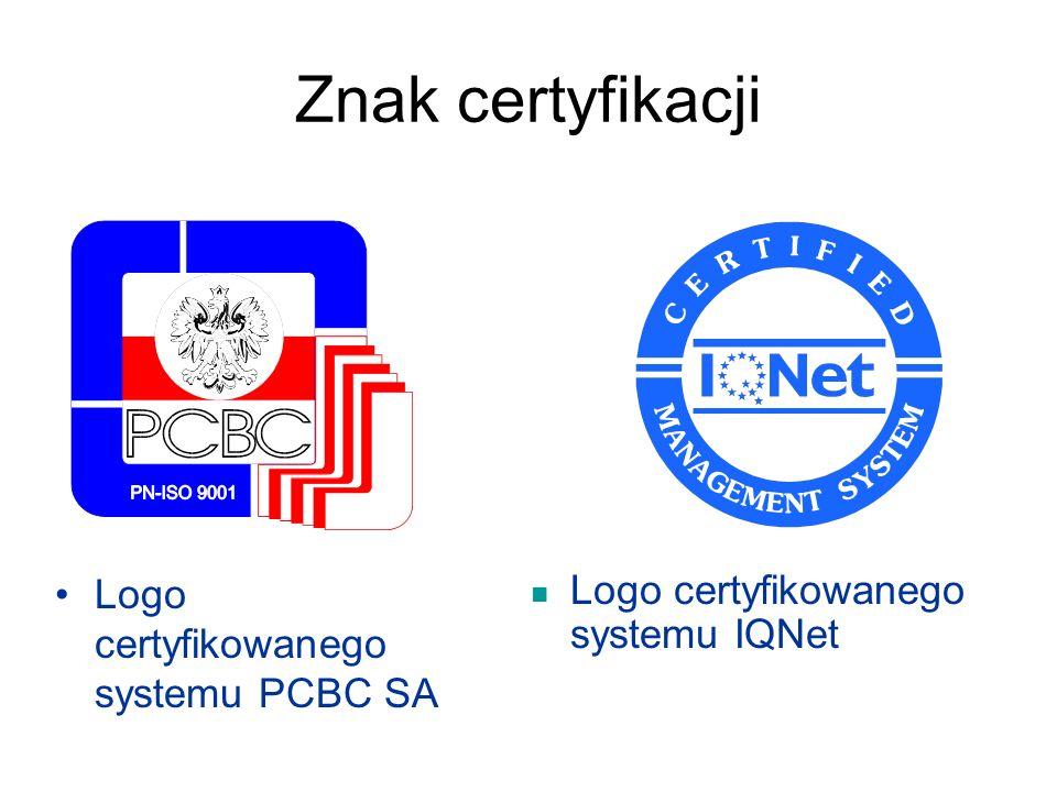 Znak certyfikacji Logo certyfikowanego systemu PCBC SA Logo certyfikowanego systemu IQNet