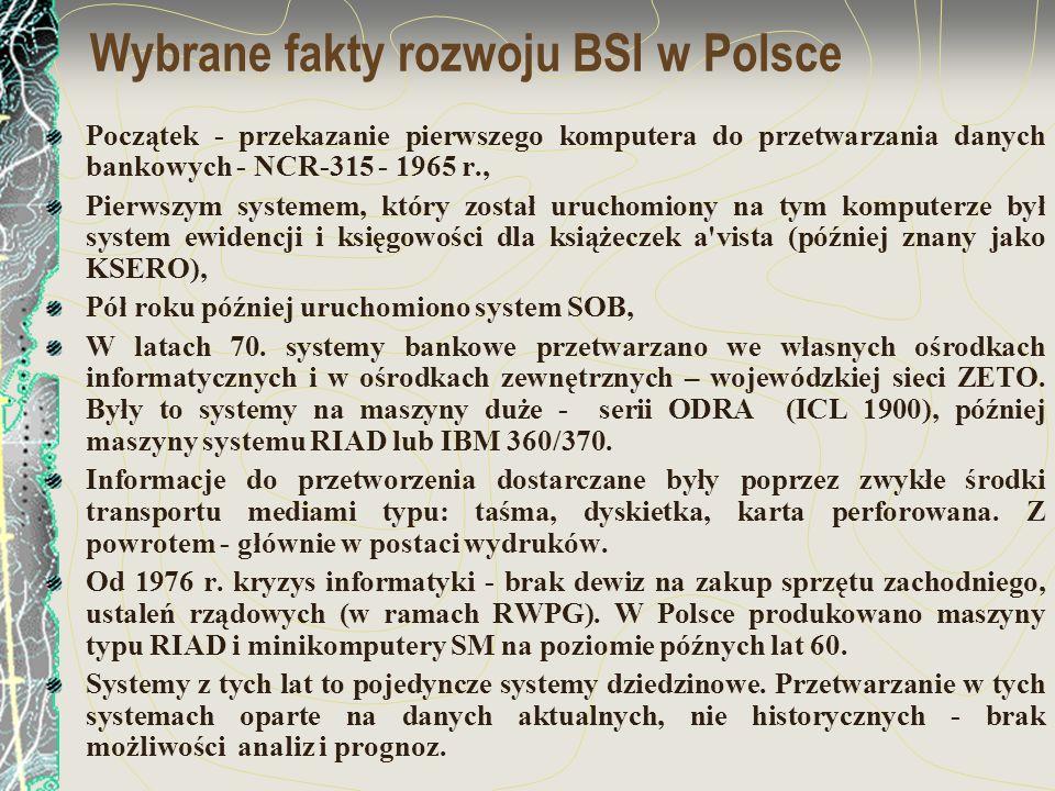 Wybrane fakty rozwoju BSI w Polsce Początek - przekazanie pierwszego komputera do przetwarzania danych bankowych - NCR-315 - 1965 r., Pierwszym system
