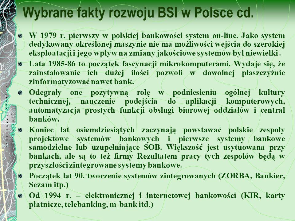 Wybrane fakty rozwoju BSI w Polsce cd. W 1979 r. pierwszy w polskiej bankowości system on-line. Jako system dedykowany określonej maszynie nie ma możl