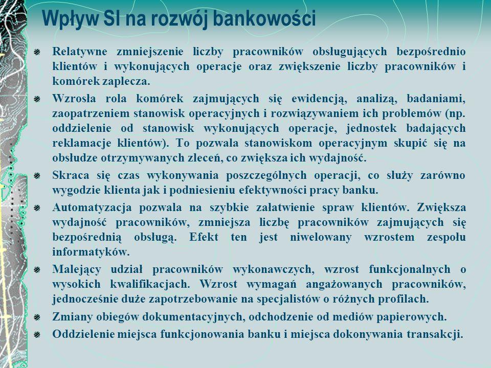 Wpływ SI na rozwój bankowości Relatywne zmniejszenie liczby pracowników obsługujących bezpośrednio klientów i wykonujących operacje oraz zwiększenie l