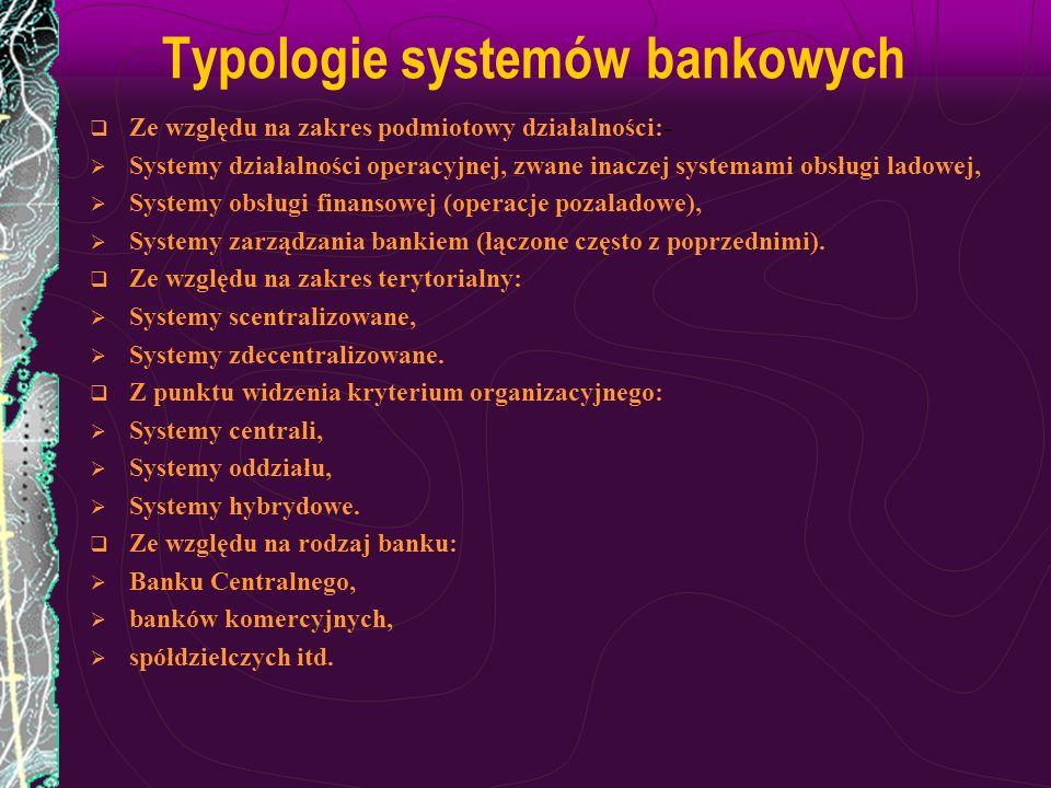Typologie systemów bankowych Ze względu na zakres podmiotowy działalności:- Systemy działalności operacyjnej, zwane inaczej systemami obsługi ladowej,