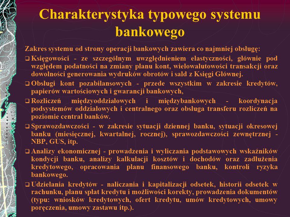 Charakterystyka typowego systemu bankowego Zakres systemu od strony operacji bankowych zawiera co najmniej obsługę: Księgowości - ze szczególnym uwzgl
