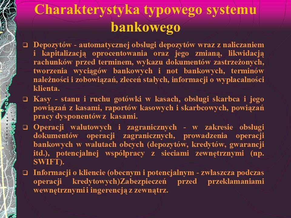 Charakterystyka typowego systemu bankowego Depozytów - automatycznej obsługi depozytów wraz z naliczaniem i kapitalizacją oprocentowania oraz jego zmi