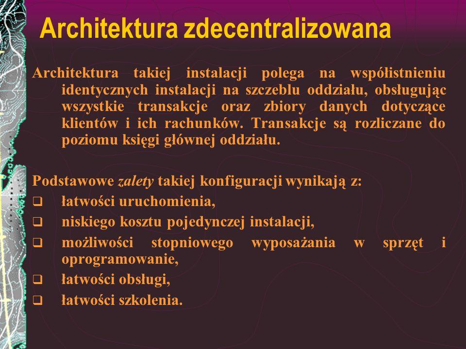 Architektura zdecentralizowana Architektura takiej instalacji polega na współistnieniu identycznych instalacji na szczeblu oddziału, obsługując wszyst