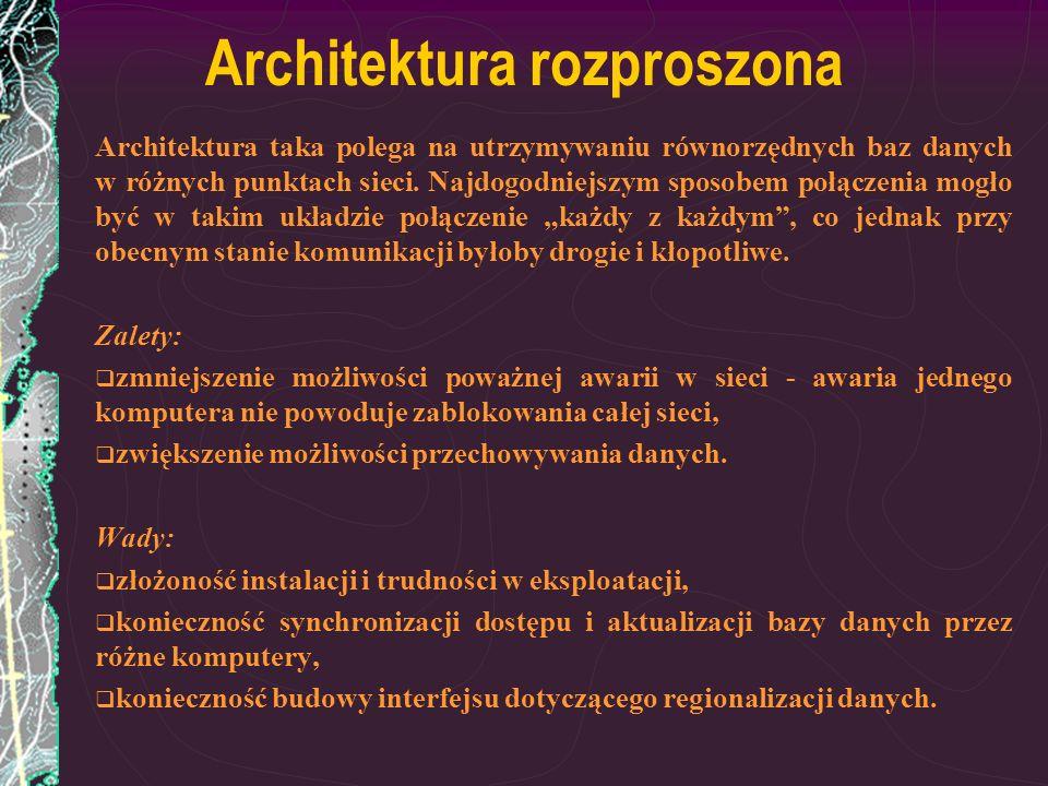 Architektura rozproszona Architektura taka polega na utrzymywaniu równorzędnych baz danych w różnych punktach sieci. Najdogodniejszym sposobem połącze