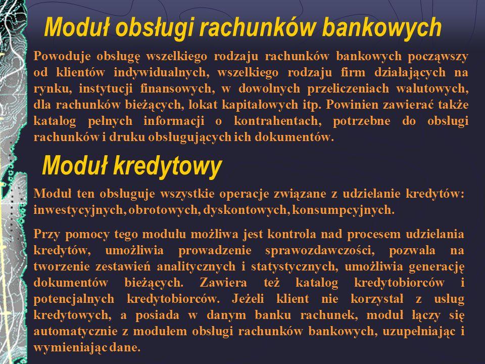 Moduł obsługi rachunków bankowych Powoduje obsługę wszelkiego rodzaju rachunków bankowych począwszy od klientów indywidualnych, wszelkiego rodzaju fir