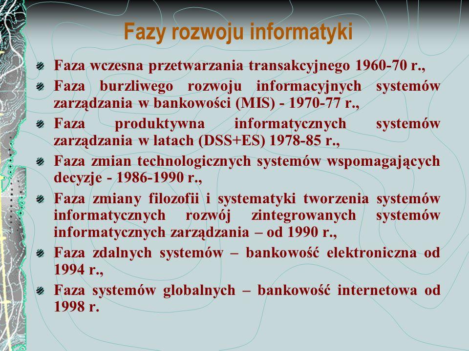 Faza wczesna przetwarzania transakcyjnego 1960-70 Duże, drogie, wolne komputery o awaryjności do 60% czasu pracy, w wyodrębnionych ośrodkach informatycznych, Uciążliwe prace, nad przygotowaniem i wprowadzaniem danych, Zakres dotyczy głównie automatyzacji obejmującej: Księgowość, Prace administracyjne typu - kadry, płace, Statystyki i raporty zewnętrzne.