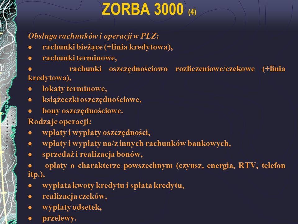 ZORBA 3000 (4) Obsługa rachunków i operacji w PLZ: rachunki bieżące (+linia kredytowa), rachunki terminowe, rachunki oszczędnościowo rozliczeniowe/cze