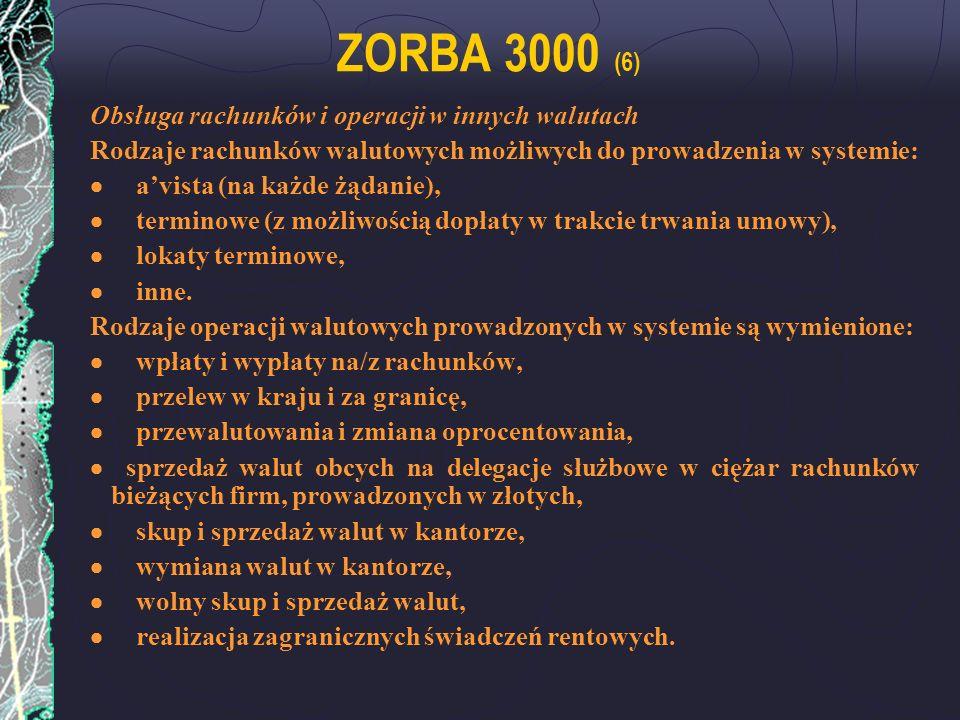 ZORBA 3000 (6) Obsługa rachunków i operacji w innych walutach Rodzaje rachunków walutowych możliwych do prowadzenia w systemie: avista (na każde żądan