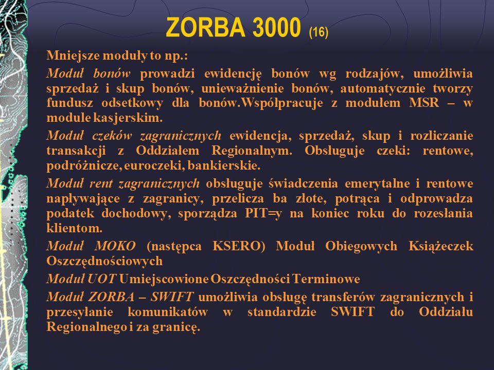 ZORBA 3000 (16) Mniejsze moduły to np.: Moduł bonów prowadzi ewidencję bonów wg rodzajów, umożliwia sprzedaż i skup bonów, unieważnienie bonów, automa