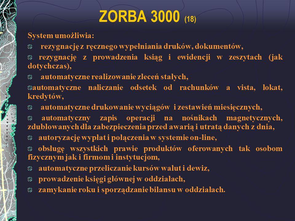 ZORBA 3000 (18) System umożliwia: rezygnację z ręcznego wypełniania druków, dokumentów, rezygnację z prowadzenia ksiąg i ewidencji w zeszytach (jak do