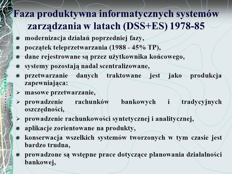 Faza zmian technologicznych systemów wspomagających decyzje - 1986-1990 radykalne zmiany w technologii informatycznej (sieci, relacyjne bazy danych itp.) rozpoczęcie decentralizacji systemów, zmiany architektury systemów, dane i procesy przetwarzania stają się niezależne, integracja systemów produktowych i problemowych w systemy informacyjne kierownictwa, powstanie pierwszych systemów w pełni zintegrowanych, pełne włączenie użytkownika w proces projektowania systemów,