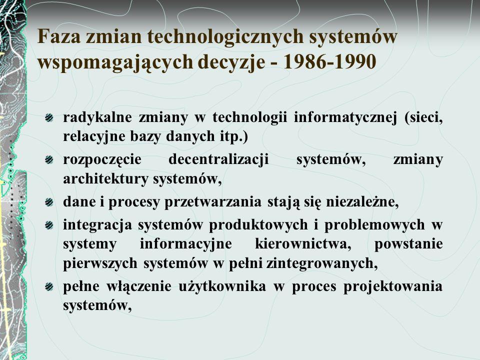 Faza zmiany filozofii i systematyki tworzenia systemów informatycznych rozwój zintegrowanych systemów informatycznych zarządzania – od 1990 zmiana metod tworzenia systemów informatycznych, automatyzacja zintegrowanego stanowiska pracy, przewaga w stosowaniu relacyjnych baz danych, administrowanie połączonymi bazami danych, stosowanie bezpośredniego dostępu do rozproszonych baz danych, system informatyczny zapewnia: wzrost produktywności stanowiska pracy, racjonalizuje przepływ danych, zwiększa trafność decyzji, zapewnia zgodność usług z oczekiwaniami klientów.