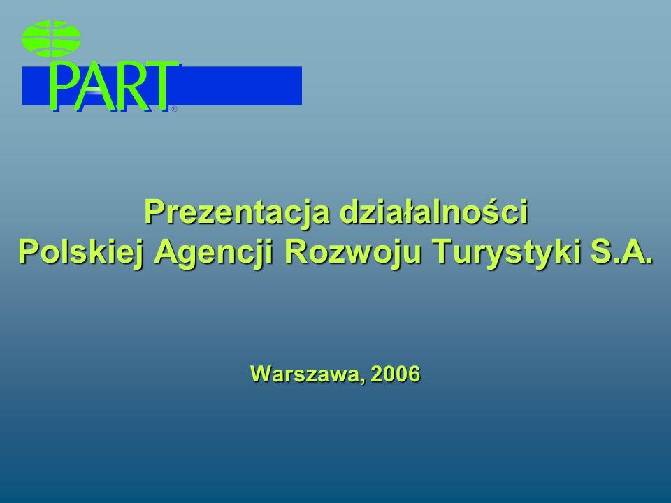 Prezentacja działalności Polskiej Agencji Rozwoju Turystyki S.A. Warszawa, 2006