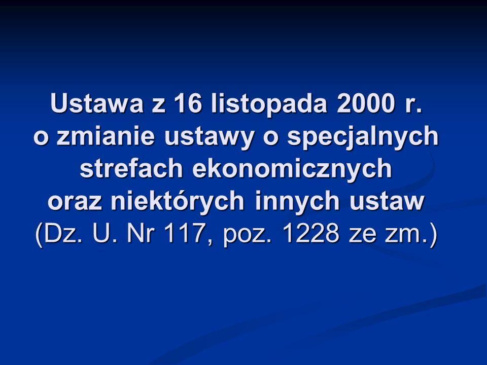 Ustawa z 16 listopada 2000 r. o zmianie ustawy o specjalnych strefach ekonomicznych oraz niektórych innych ustaw (Dz. U. Nr 117, poz. 1228 ze zm.)