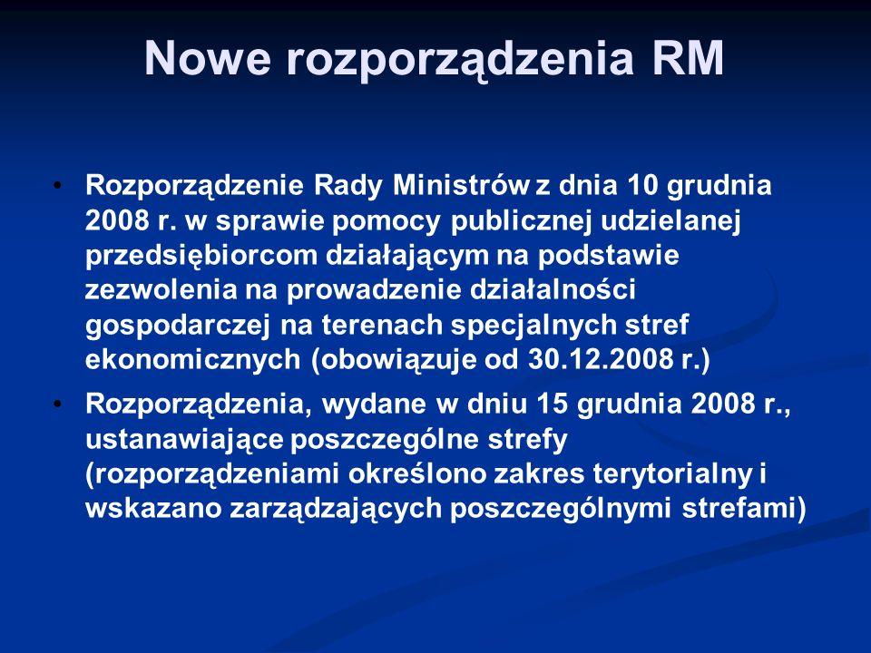 Nowe rozporządzenia RM Rozporządzenie Rady Ministrów z dnia 10 grudnia 2008 r. w sprawie pomocy publicznej udzielanej przedsiębiorcom działającym na p