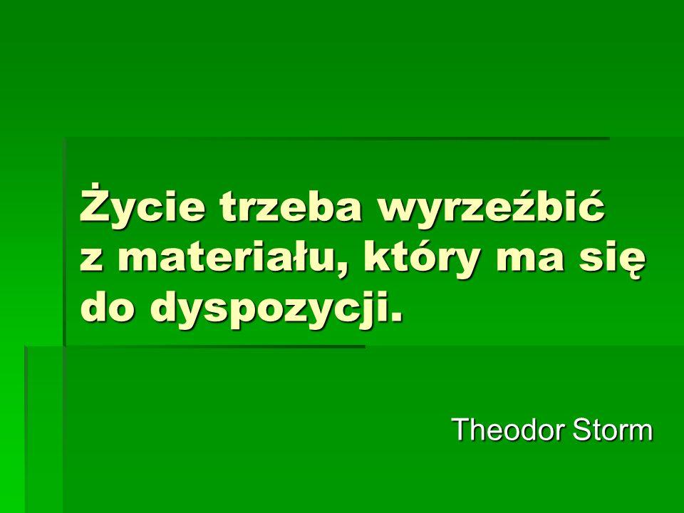 Życie trzeba wyrzeźbić z materiału, który ma się do dyspozycji. Theodor Storm