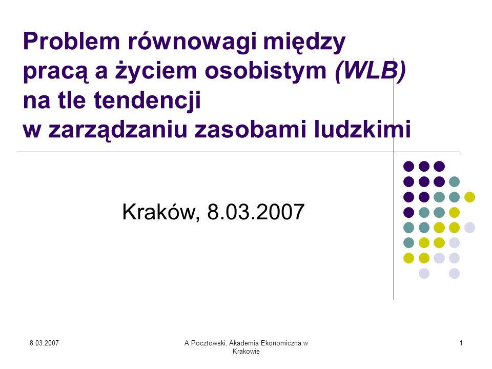 8.03.2007A.Pocztowski, Akademia Ekonomiczna w Krakowie 2 Zarządzanie zasobami ludzkimi ZZL w Polsce jest wypadkową historycznych zaszłości i nowych wyzwań.
