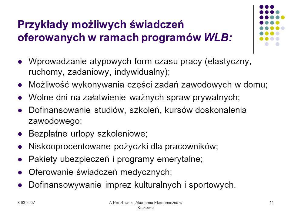 8.03.2007A.Pocztowski, Akademia Ekonomiczna w Krakowie 11 Przykłady możliwych świadczeń oferowanych w ramach programów WLB: Wprowadzanie atypowych for