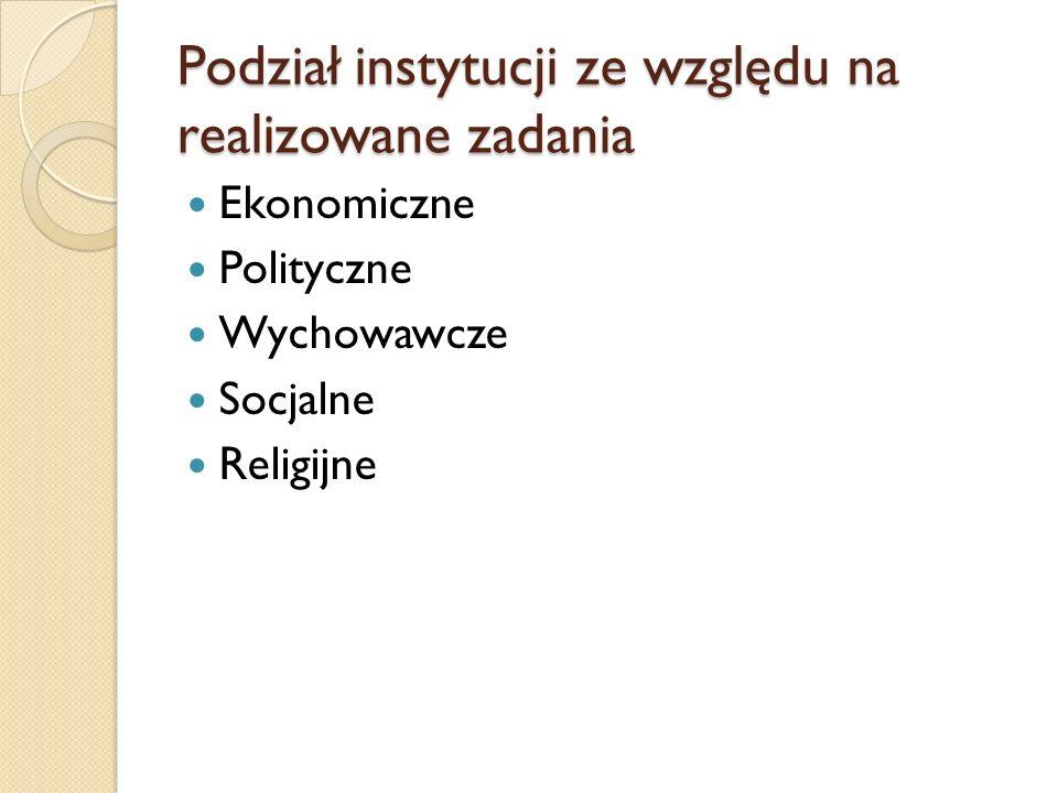 Podział instytucji ze względu na realizowane zadania Ekonomiczne Polityczne Wychowawcze Socjalne Religijne