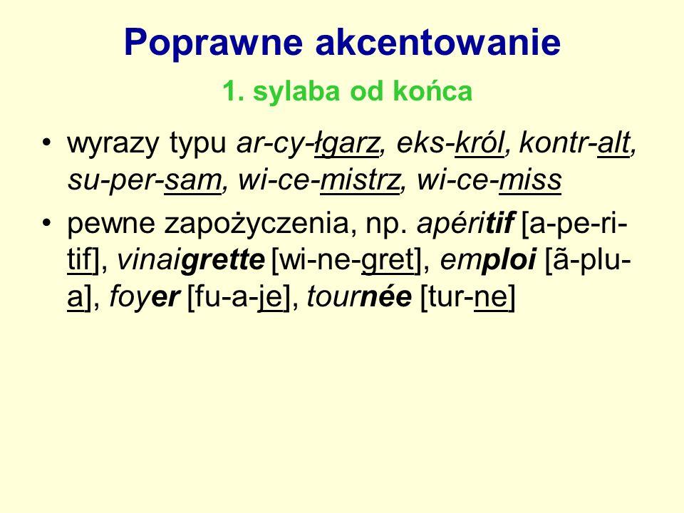 Poprawne akcentowanie 1. sylaba od końca wyrazy typu ar-cy-łgarz, eks-król, kontr-alt, su-per-sam, wi-ce-mistrz, wi-ce-miss pewne zapożyczenia, np. ap