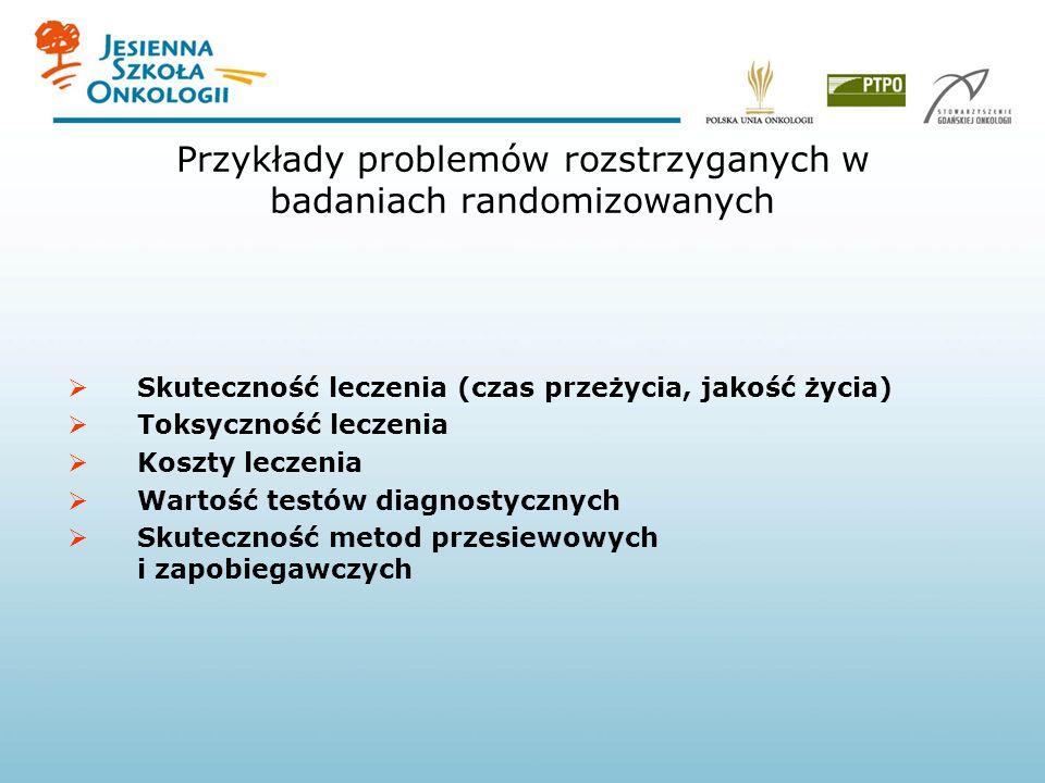 Przykłady problemów rozstrzyganych w badaniach randomizowanych Skuteczność leczenia (czas przeżycia, jakość życia) Toksyczność leczenia Koszty leczeni
