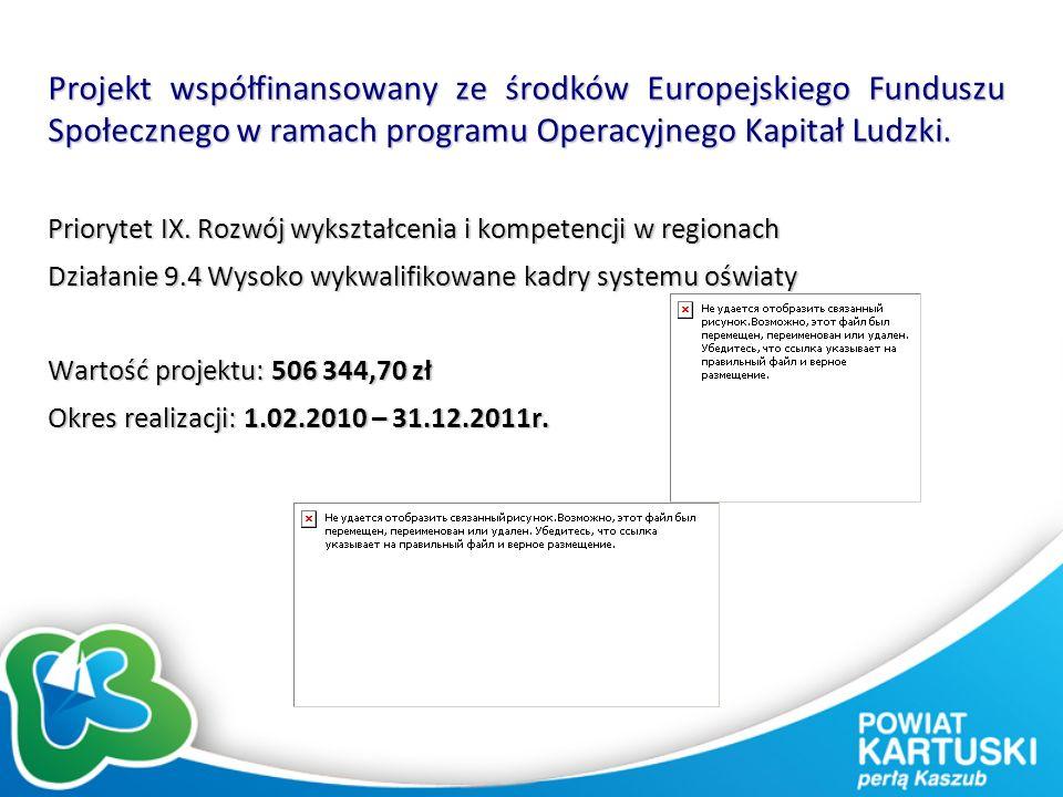 Projekt współfinansowany ze środków Europejskiego Funduszu Społecznego w ramach programu Operacyjnego Kapitał Ludzki. Priorytet IX. Rozwój wykształcen
