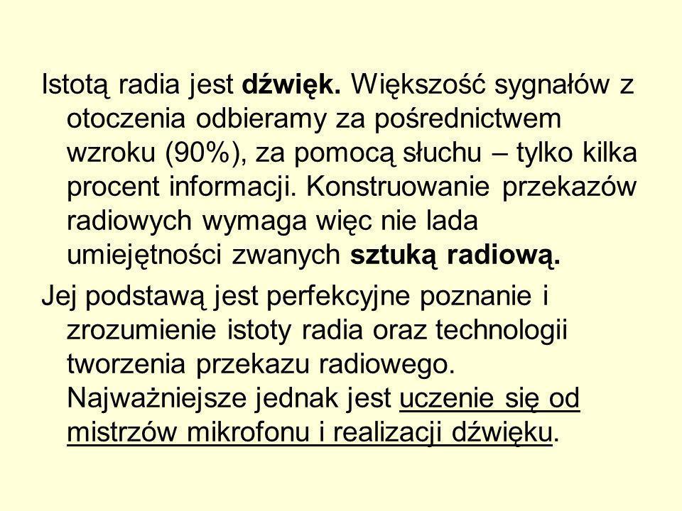 Istotą radia jest dźwięk. Większość sygnałów z otoczenia odbieramy za pośrednictwem wzroku (90%), za pomocą słuchu – tylko kilka procent informacji. K