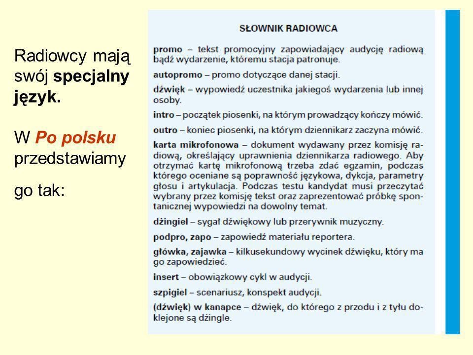 Radiowcy mają swój specjalny język. W Po polsku przedstawiamy go tak: