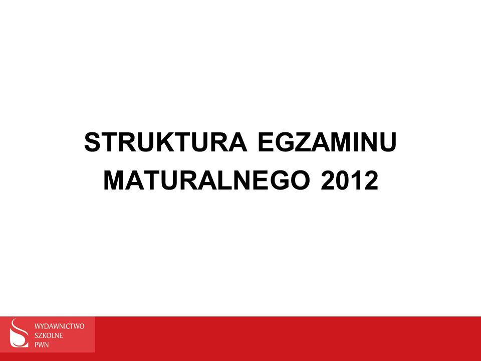 STRUKTURA EGZAMINU MATURALNEGO 2012