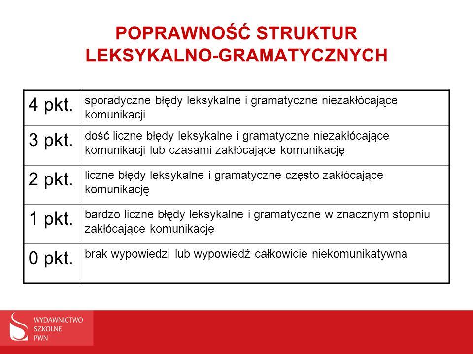 POPRAWNOŚĆ STRUKTUR LEKSYKALNO-GRAMATYCZNYCH 4 pkt. sporadyczne błędy leksykalne i gramatyczne niezakłócające komunikacji 3 pkt. dość liczne błędy lek