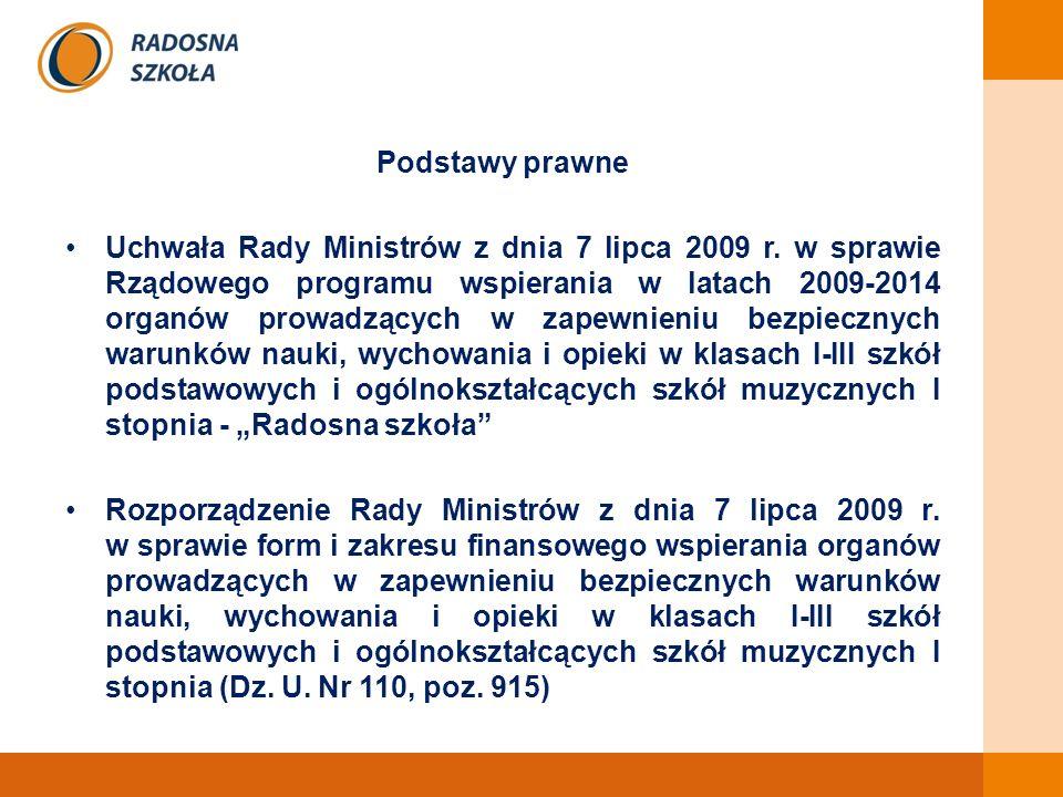 Podstawy prawne Uchwała Rady Ministrów z dnia 7 lipca 2009 r.