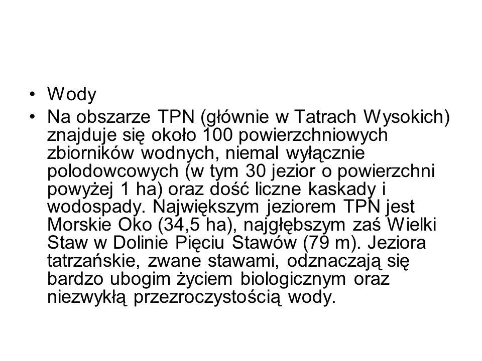 Wody Na obszarze TPN (głównie w Tatrach Wysokich) znajduje się około 100 powierzchniowych zbiorników wodnych, niemal wyłącznie polodowcowych (w tym 30