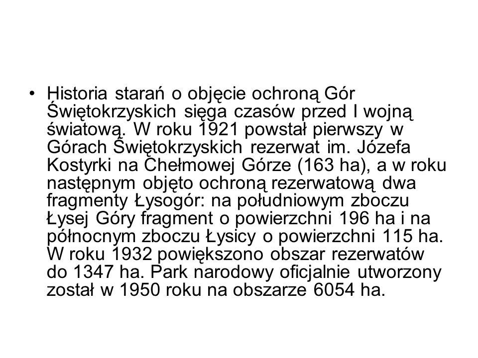 Historia starań o objęcie ochroną Gór Świętokrzyskich sięga czasów przed I wojną światową. W roku 1921 powstał pierwszy w Górach Świętokrzyskich rezer