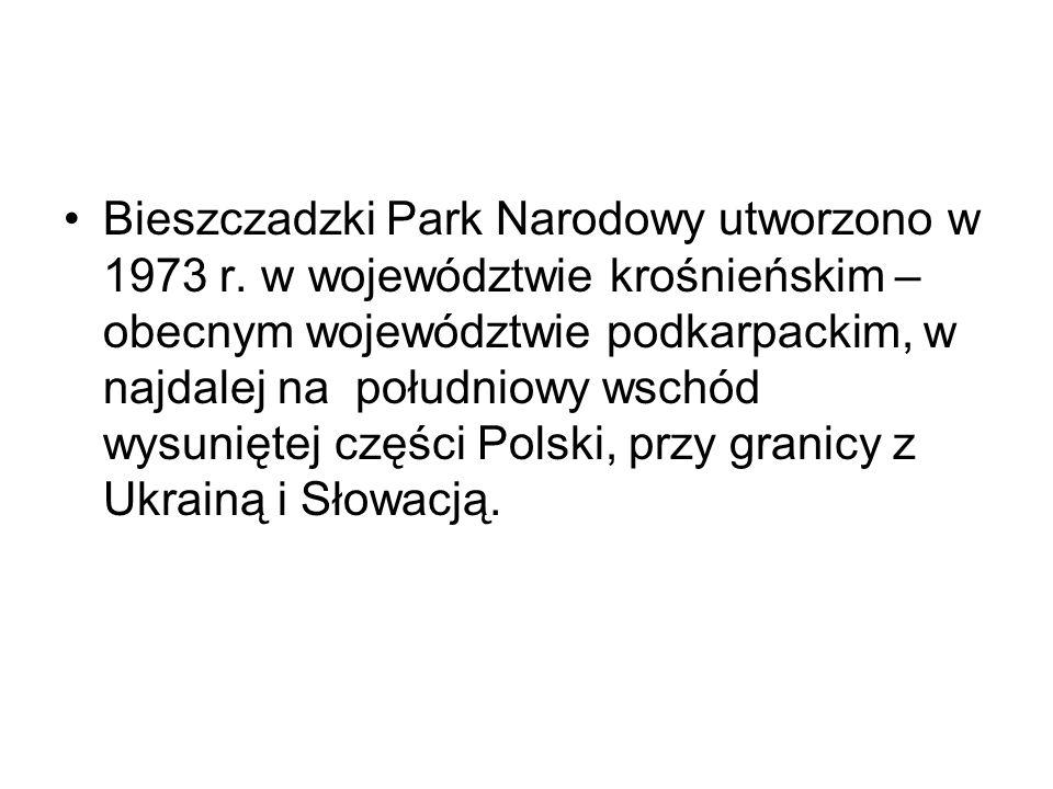 Bieszczadzki Park Narodowy utworzono w 1973 r. w województwie krośnieńskim – obecnym województwie podkarpackim, w najdalej na południowy wschód wysuni