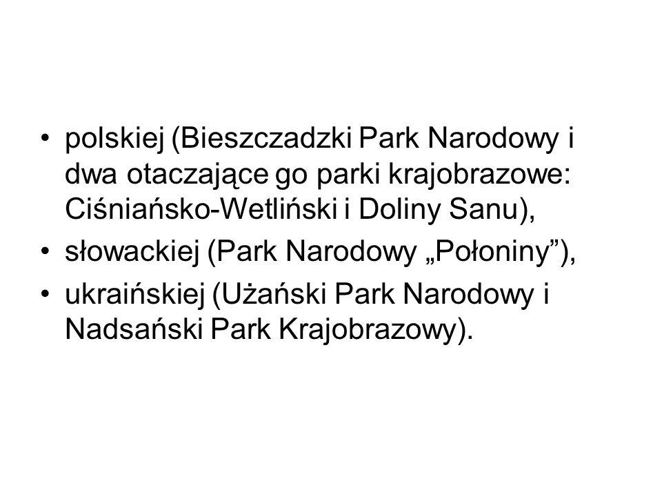 polskiej (Bieszczadzki Park Narodowy i dwa otaczające go parki krajobrazowe: Ciśniańsko-Wetliński i Doliny Sanu), słowackiej (Park Narodowy Połoniny),