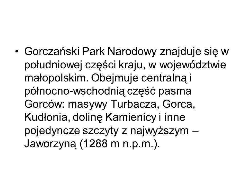 Gorczański Park Narodowy znajduje się w południowej części kraju, w województwie małopolskim. Obejmuje centralną i północno-wschodnią część pasma Gorc
