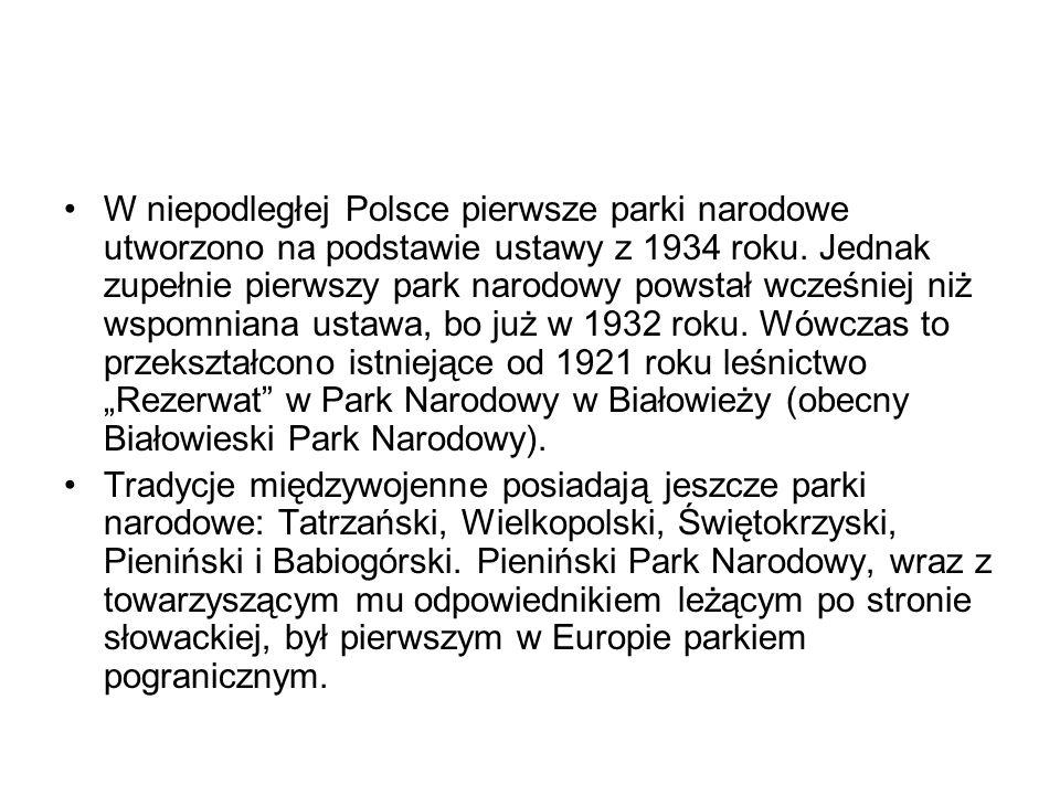 W niepodległej Polsce pierwsze parki narodowe utworzono na podstawie ustawy z 1934 roku. Jednak zupełnie pierwszy park narodowy powstał wcześniej niż