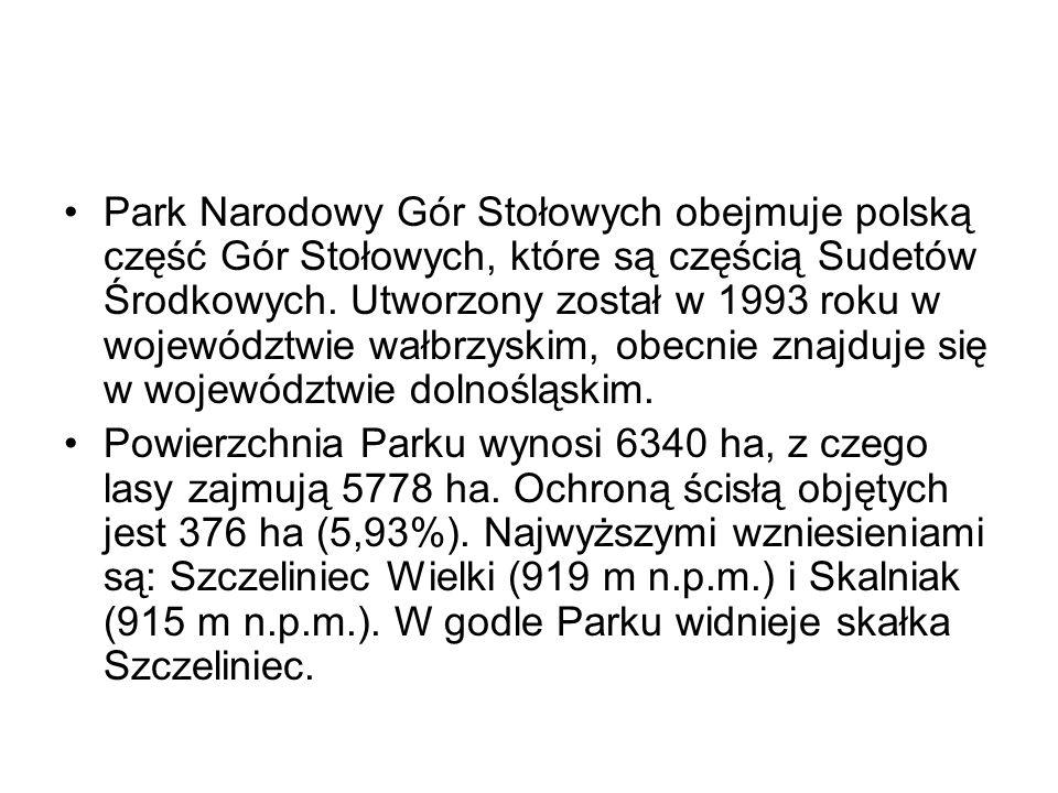 Park Narodowy Gór Stołowych obejmuje polską część Gór Stołowych, które są częścią Sudetów Środkowych. Utworzony został w 1993 roku w województwie wałb