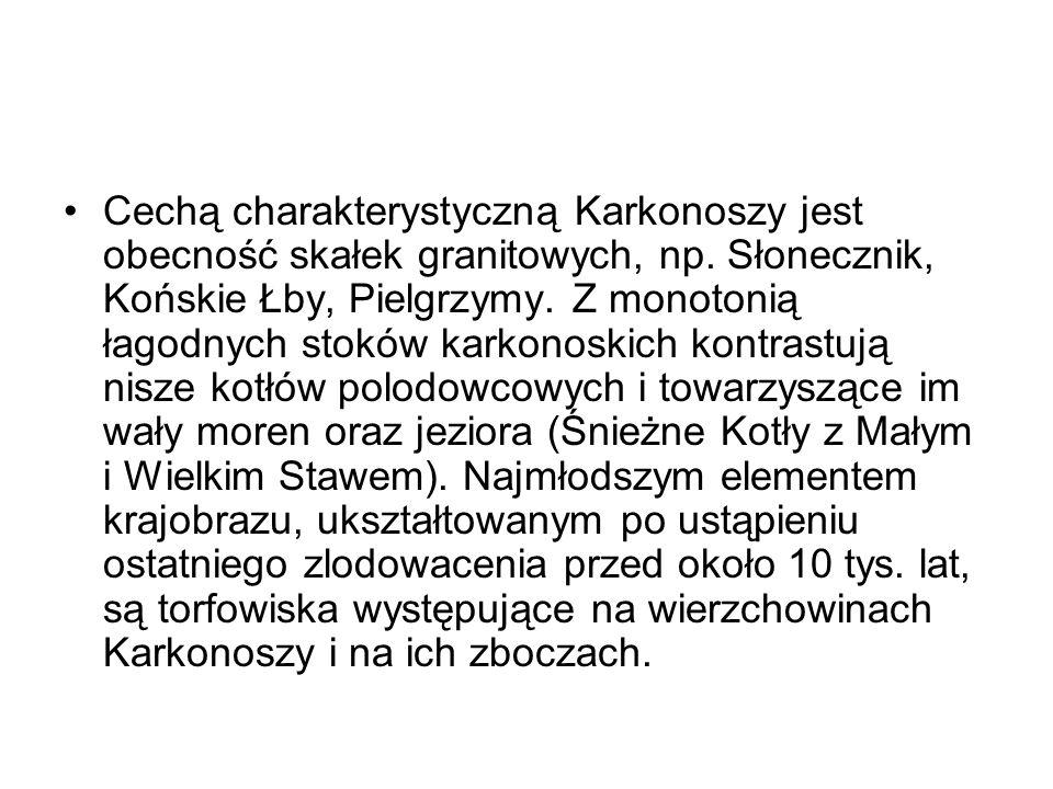 Cechą charakterystyczną Karkonoszy jest obecność skałek granitowych, np. Słonecznik, Końskie Łby, Pielgrzymy. Z monotonią łagodnych stoków karkonoskic