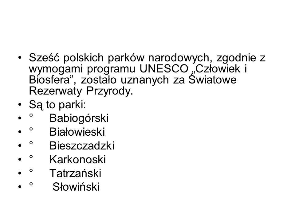 Sześć polskich parków narodowych, zgodnie z wymogami programu UNESCO Człowiek i Biosfera, zostało uznanych za Światowe Rezerwaty Przyrody. Są to parki