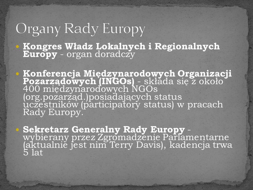 Kongres Władz Lokalnych i Regionalnych Europy - organ doradczy Konferencja Międzynarodowych Organizacji Pozarządowych (INGOs) - składa się z około 400