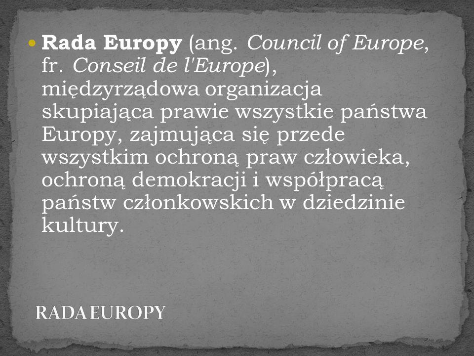 Rada Europy (ang. Council of Europe, fr. Conseil de l'Europe ), międzyrządowa organizacja skupiająca prawie wszystkie państwa Europy, zajmująca się pr