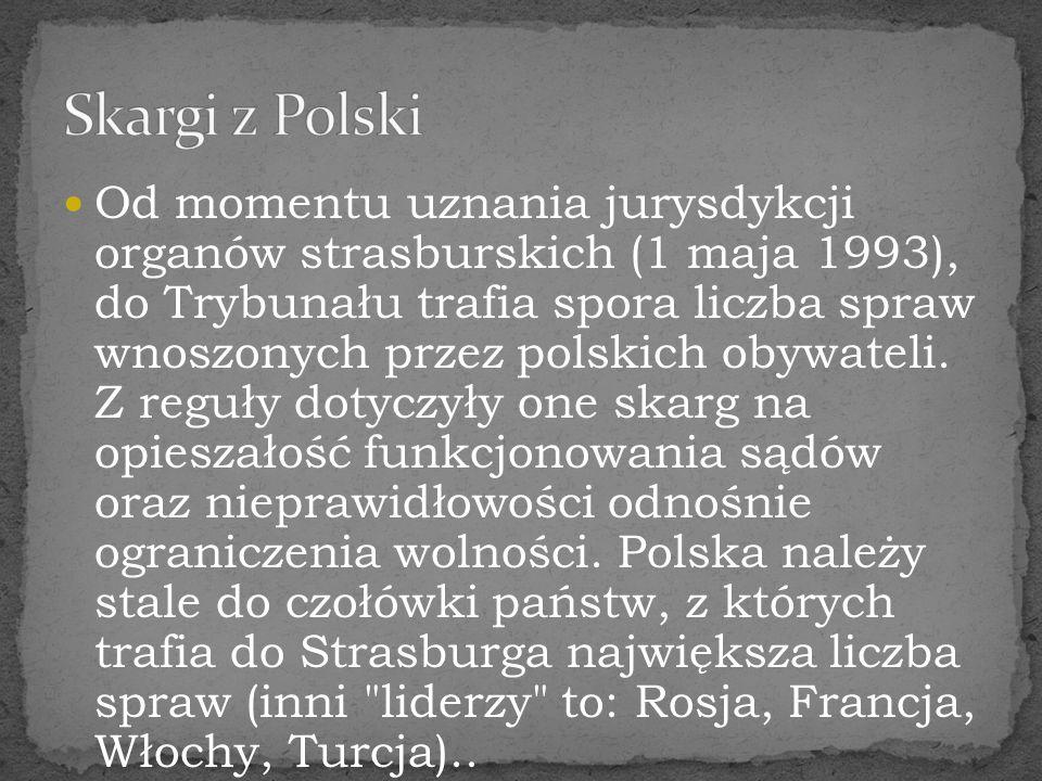 Od momentu uznania jurysdykcji organów strasburskich (1 maja 1993), do Trybunału trafia spora liczba spraw wnoszonych przez polskich obywateli. Z regu
