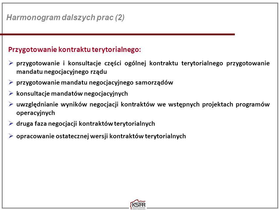 Działania horyzontalne: Wypracowanie skutecznych mechanizmów koordynacji, w celu zapewnienia komplementarności interwencji: - koordynacja działań finansowanych w ramach funduszy WRS - koordynacja działań finansowanych z innych środków zarówno krajowych, jak i unijnych - koordynacja działań pomiędzy oboma szczeblami zarządzania (kraj-region) Wypracowanie zestawu jednolitych wskaźników dla wszystkich programów operacyjnych oraz do performance framework wraz z zasadami ich zastosowania Dopracowanie zakresu oraz zasad zarządzania ZIT Określenie zasad działania i organizacji RLKS Harmonogram dalszych prac (3)