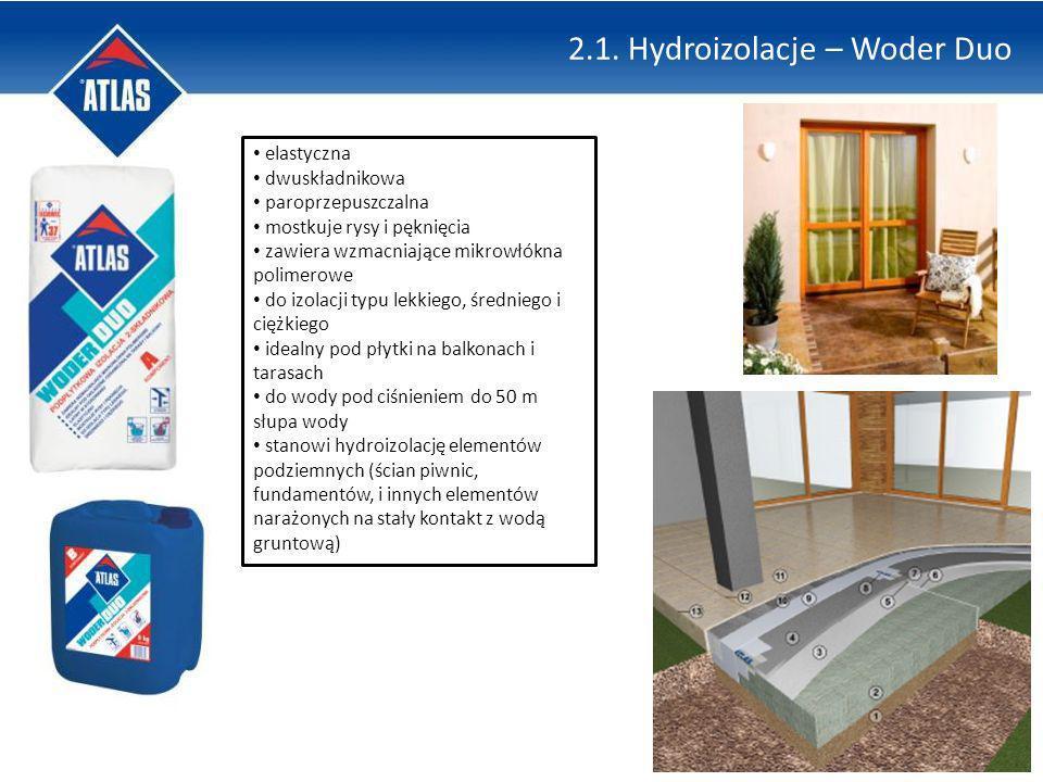2.1. Hydroizolacje – Woder Duo elastyczna dwuskładnikowa paroprzepuszczalna mostkuje rysy i pęknięcia zawiera wzmacniające mikrowłókna polimerowe do i