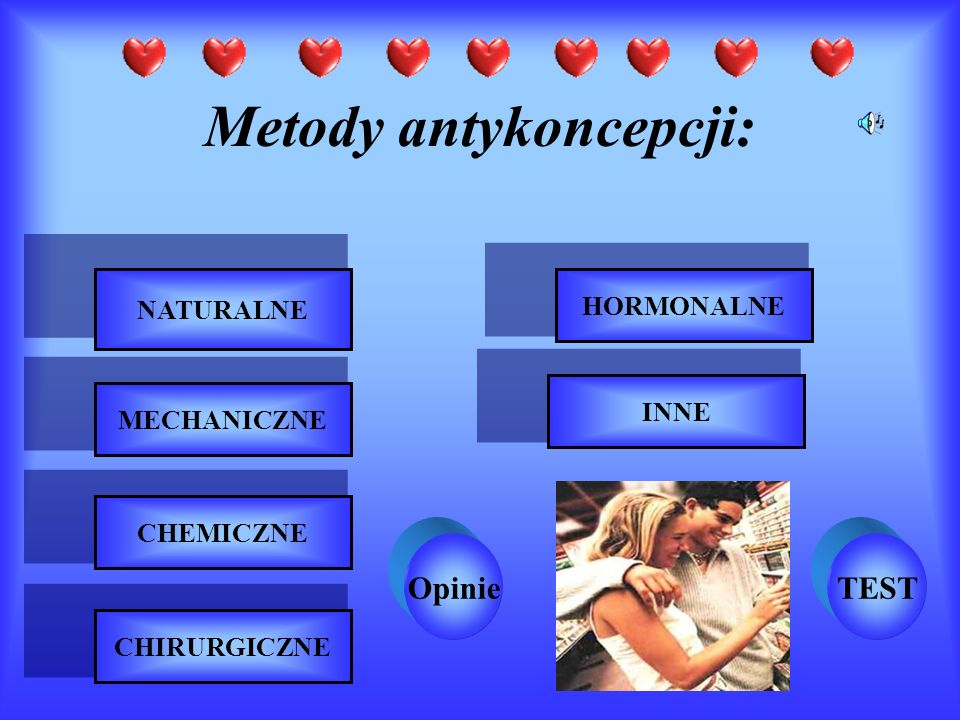 Metody antykoncepcji: NATURALNE MECHANICZNE CHEMICZNE CHIRURGICZNE HORMONALNE INNE OpinieTEST