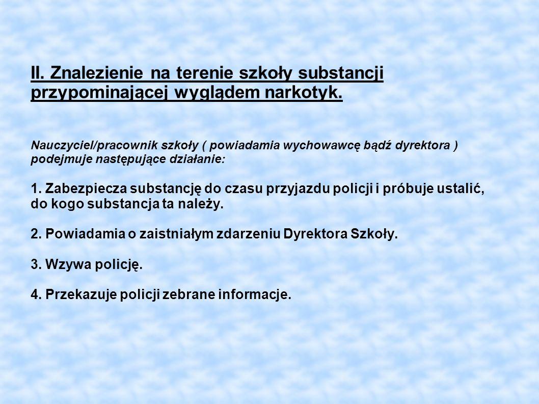 II. Znalezienie na terenie szkoły substancji przypominającej wyglądem narkotyk. Nauczyciel/pracownik szkoły ( powiadamia wychowawcę bądź dyrektora ) p