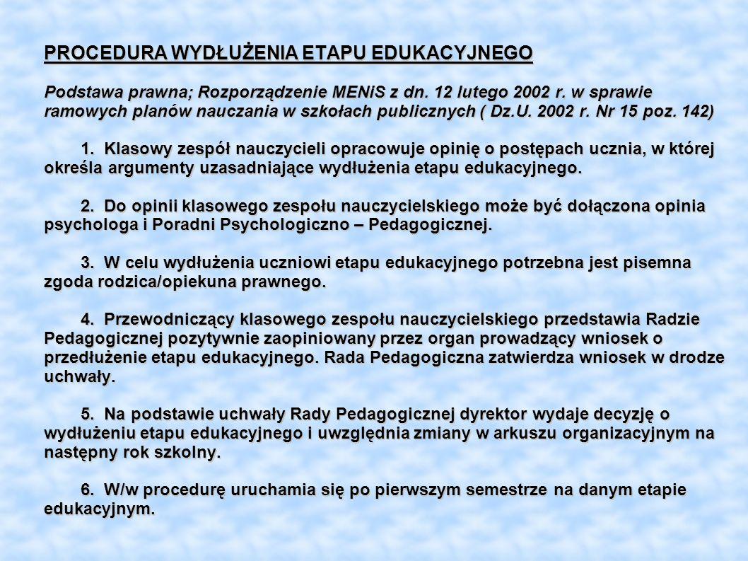 PROCEDURA WYDŁUŻENIA ETAPU EDUKACYJNEGO Podstawa prawna; Rozporządzenie MENiS z dn. 12 lutego 2002 r. w sprawie ramowych planów nauczania w szkołach p